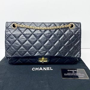 Authentic Chanel Aged Calfskin Quilted 2.55 Reissue 226 Flap Bag